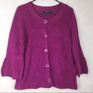 Jones New York Knit Raspberry Cardigan NWT